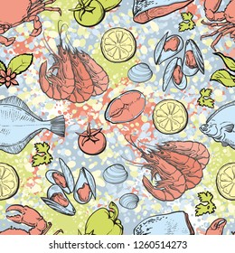 vector sketch seafood seamless pattern with seafood delicacy. Sea flatfish lobster shripms crawfish mussels, meat steak and lemon slices. Hand drawn restaurant and marine cafe menu, packaging design.