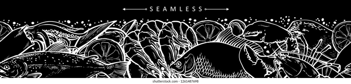 vector sketch seafood seamless pattern with monochrome shrimp, trout, flatfish lopster and squid with lemon slice. Hand drawn seafood delicacy, restaurant and marine cuisine cafe menu packaging design