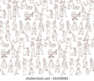 Vector sketch seamless pattern of illustrations walking urban residents. Children and adults on the street in the city. Working porters, schoolgirl, woman with the kids and other characters
