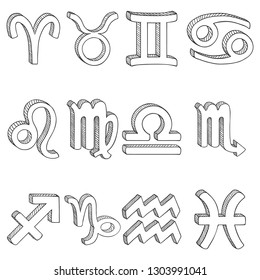 Vector Sketch Set of 12 Zodiac Signs. Black Outline Zodiacal Icons.