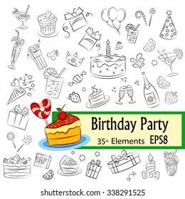 "Vector Sketch Set "" Birthday Party"", EPS8"