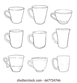 Vector sketch set of cups isolated on white background. Hand drawn illustration.