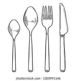 Vector Sketch Set of Cutlery. Knife, Fork and Spoons
