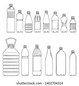 Vector Sketch Set of Empty Plastic Bottles for Water