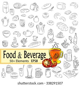 """Vector Sketch Set """" Foods and Drinks"""", EPS8"""