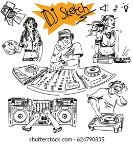 Vector sketch set in hand-drawn style. DJ and console. Vector sketch with the DJ and a turntable.