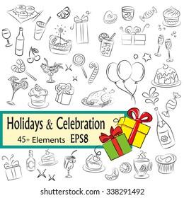 "Vector Sketch Set "" Holidays and Celebration"", EPS8"