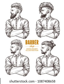 Vector sketch set of illustration of barbershoper. Collection of portrait of yong hipster man with trendy hairstyle. Hand drawn image of Barber Shop owner