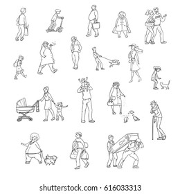 Vector sketch set of illustrations walking urban residents. Children and adults in various situations on the street in the city. Working porters, schoolgirl, woman with the kids and other characters