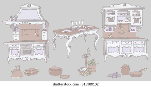 vector sketch set for a kitchen furniture in the old style - oven, extractor hood, sink, drawers, table, decorative items, pots, pans, vases, baskets - with violet decor on a gray background