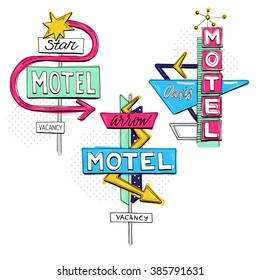Vector sketch set with motel sign, retro sign/pointer, vintage billboard, bright signboard, vintage neon sign,road trip, colorful old sign, American style for advertising