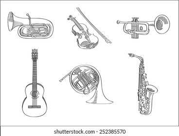 Vector sketch set of musical instruments - tuba, violin, trumpet, guitar, french horn and saxophone