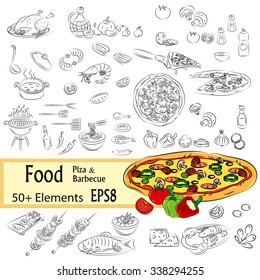 """Vector Sketch Set """"Pizza and Fastfood"""""""