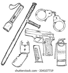 Vector Sketch Set of Police Weapon and Equipment