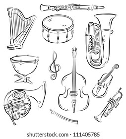 Vector sketch set of Symphony Orchestra musical instruments