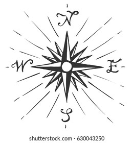 Vector sketch sign Wind rose. Compass hand-drawing on a white background. travel symbol.  travel symbol.
