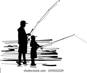 the vector sketch of the silhouette fishing father and son on the beach