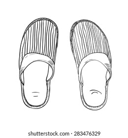 Vector sketch of slippers. Hand draw illustration.