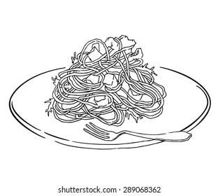Vector sketch of spagetti plate. Italian food draw. Isolated on white.