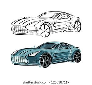 Vector sketch of a sports car