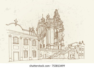 vector sketch of St. George's Cathedral in Lviv, Ukraine.