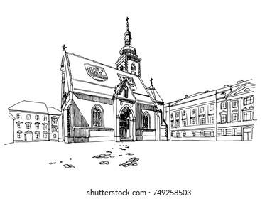 vector sketch of St. Mark's Church in Zagreb, Croatia.