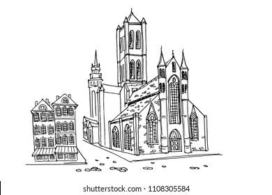 Vector sketch of St Nicholas' Church in Ghent, Belgium