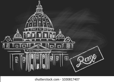 Vector sketch of St. Peter's Basilica in Rome, Italy