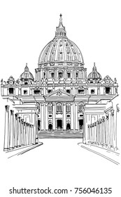 vector sketch of St. Peter's cathedral in Vatican City Rome Italy.