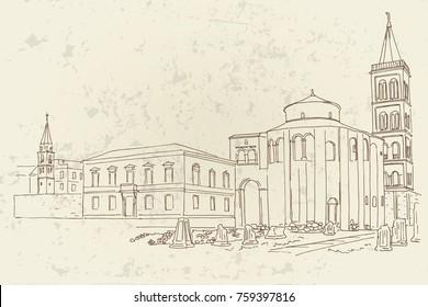 vector sketch of St.Donatus church on the Roma Forum in Zadar. Croatia.