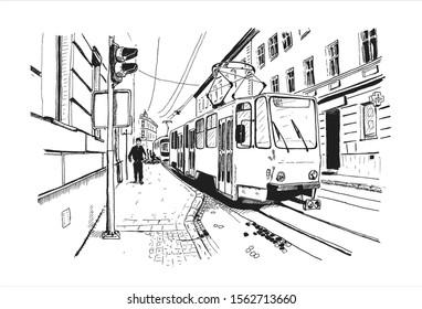 Vector sketch of street scene in Lviv, Digital ink illustration.