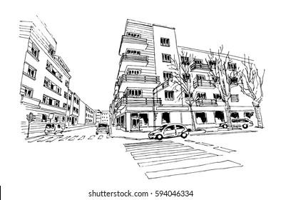 vector sketch of street scene in Zagreb, Croatia.