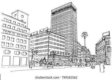 Vector sketch of street scene in Zagreb.