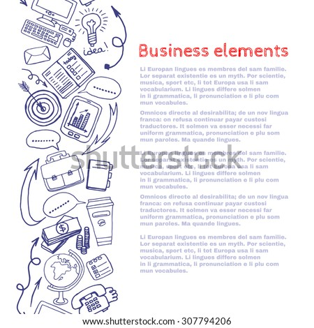 Vector sketch style draw business elements stock vector royalty vector sketch style draw business elements border composition background doodle illustration template for your maxwellsz