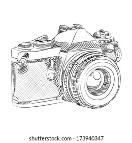 vector sketch style of retro camera