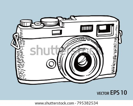 Camera Vintage Vector Png : Vector sketch style retro camera stock vector royalty free