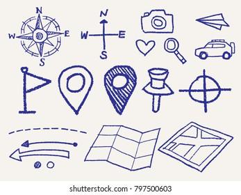 vector sketch style travel icon set