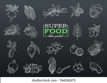 Vector sketch superfood icons set. Healthy detox natural hand drawn product of lucuma, coji berries, mangosteen, and maca. Carob, camu camu, garcinia cambogia, ginger, moringa, acai, guarana and noni.