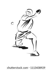 Vector sketch table tennis player