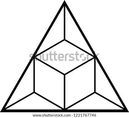 Vector Sketch Tattoo Fire Triangle Cube Stock Vector Royalty Free