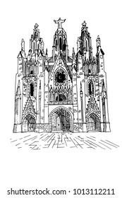 vector sketch of The Temple del Sagrat Cor (Church of the Sacred Heart). Barcelona. Spain.