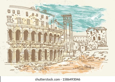 vector sketch of Theatre of Marcellus (Teatro di Marcello) Rome, Italy. Retro style.