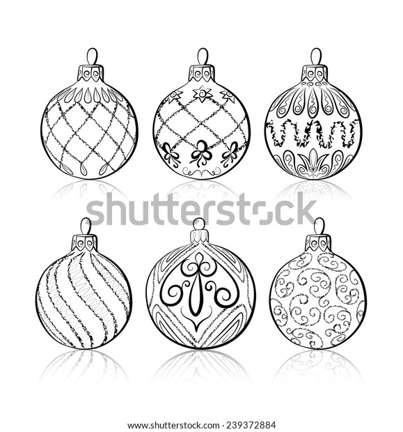 Drawings Of Christmas Decorations.Vector Sketch Three Christmas Balls On Stock Vector Royalty