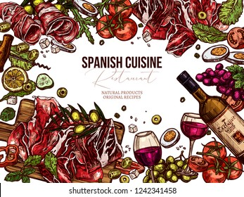 Vector sketch top view spanish cuisine background. Colorful hand drawn illustration with meat, wine, jamon, vegetables, salads olive