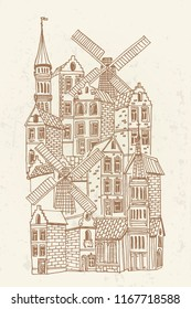 vector sketch of traditional architecture of Belgium.