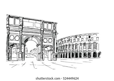 vector sketch of Triumphal arch and Coliseum. Rome. Italy.