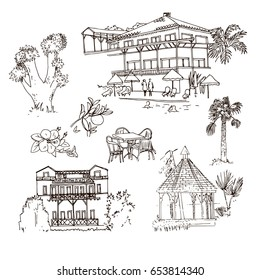 Vector sketch Turkish hotel. Hand drawn buildings and landscape elements, flowers, trees, gazebo.