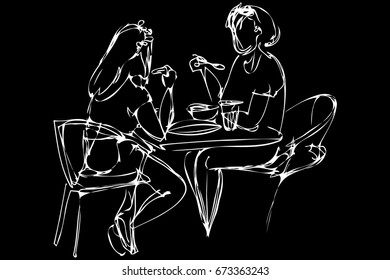 vector sketch two girls eat in a cafe
