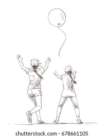 Vector sketch of two girls in summer clothes with long pigtails with arms raised up catching up flying away balloon, Hand drawn illustration isolated on white, Playing children
