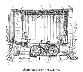 Vector sketch of two indian men in traditional clothes sit next to closed shop door with bicycle leaning on building, Hand drawn illustration
